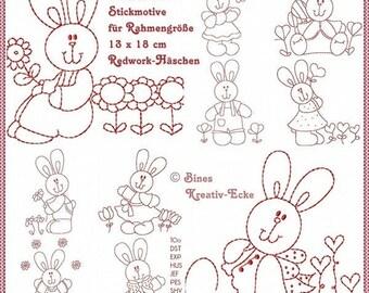 Osterhasen Redwork Stickmuster Stickdatei für Ostern