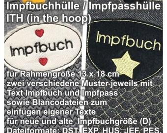 Stickmuster / Stickdatei Impfbuchhülle Impfpasshülle ITH in the hoop