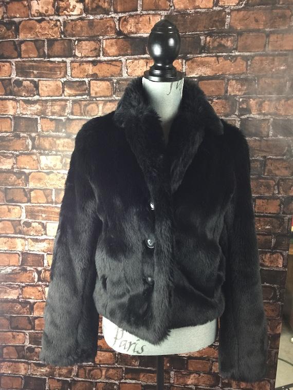 Vintage Faux Fur Jacket, Black Jacket, Black Faux