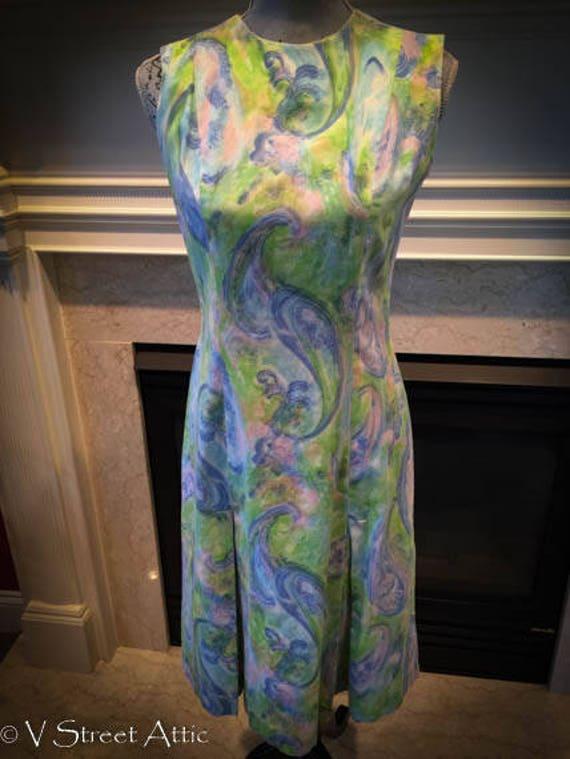 1970's A line Paisley Shift Dress