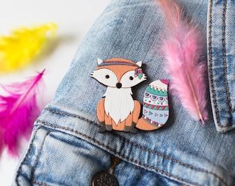 Fox wooden brooch -Tribal fox -Wooden pin-Laser cut-Lasercut jewellery-Woodland animals-Gift for women-Animal pin-Gift for her-Gift for baby