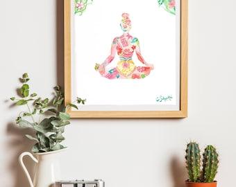 Yoga poster illustration flowers - 20 x 30 cm Decoration Yoga Poster print print Nature Art