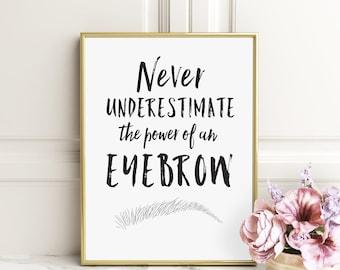 Eyebrow Print - Salon Decor - Makeup Decor - Black and White Print - Wall Decor Print - Makeup Art - Makeup Wall Decor - Eyebrows