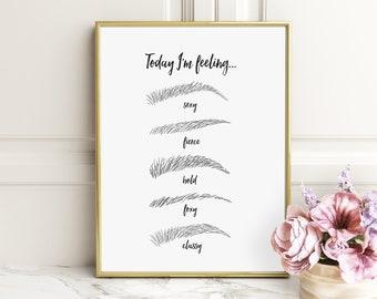 Makeup Wall Art - Makeup Print - Eyebrow Print - Beauty Print - Makeup - black and white prints - makeup artist gift - makeup decor