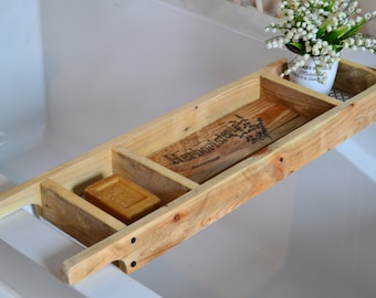 Farmhouse Bath Tray , Wood Bath Caddy, Bathroom Decor and Accessories , Custom Made to Order ,Recycled Pallet Wood , Rustic Style Bath Rack
