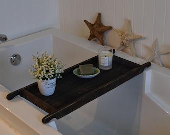 Bathtub Tray , Wood Bath Caddy , Black , Recycled Wood