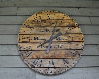 30 wall clock 28 inch wall clock recycled wood 30 30 inch wall clock etsy
