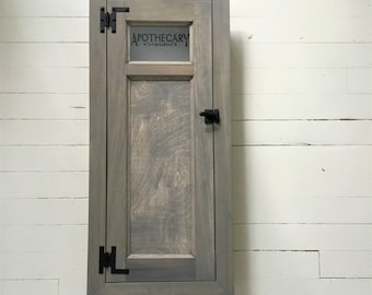 Farmhouse Style Recessed Medicine Cabinet ,  Built In  Washroom Cabinet, Barn Wood Gray Stain , Custom Made and Sizing