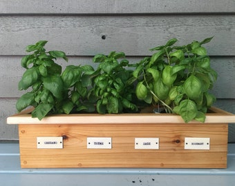 Recycled Wood Planter Box for Herbs , Wood Planter with Tags