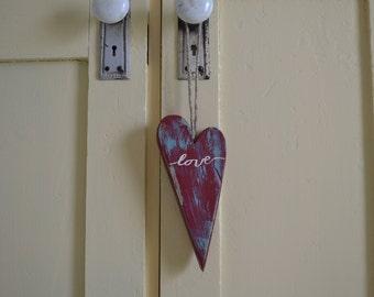 Wood Heart  Primitive Style Door Decor & Heart door decor   Etsy
