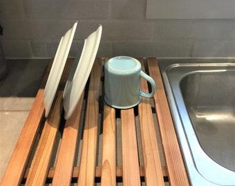 Dish Drying Tray , Cedar Slats Drying Rack