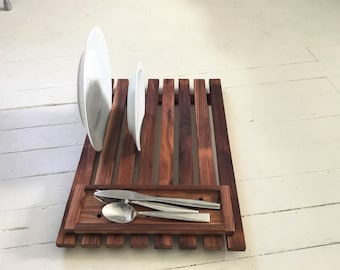 Dish Drying Tray with Utensil Holder , Cedar Drying Rack with Small Brush or Sponge Tray