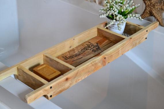 Bathtub Tray Recycled Wood Rustic Style Bath Rack | Etsy