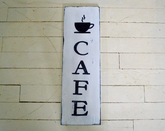 """Hand Painted """"Café"""" Wood Sign / Distressed White Finish / 24""""x 8"""" / Black Letters on White Background"""