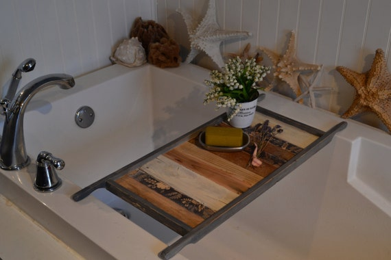 Bathtub Tray Wood Bath Caddy Recycled Pallet Wood Etsy