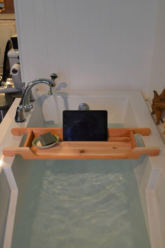 Bathtub tray Tablette Holder Red Cedar Wood Rustic Style | Etsy