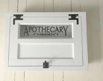 Vintage Style Built In Horizontal Apothecary Cabinet,  Farmhouse Style Medicine Cabinet , Various Finishes, Custom Made and Sizing
