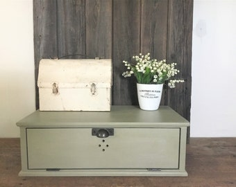 Counter Top Wood Charging Station, Small Bread Box ,  Shaker Style , Chalk Paint Finish , Custom Made to Order