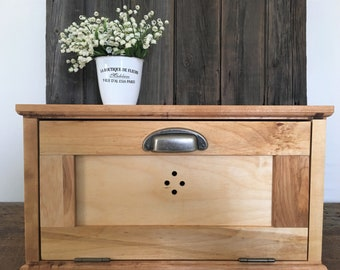 Cherry Wood Bread Box ,  Shaker Style , Natural Oil Finish