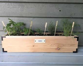 Wood Herb Planter,  Decorative Reclaimed Wood Planter Box