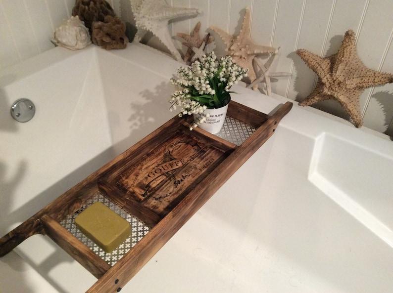 Vassoio Vasca Da Bagno : Vasca da bagno vassoio riciclato dark wood stile rustico etsy
