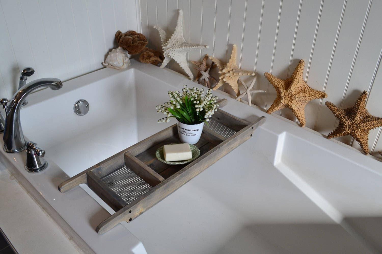 Bath Tray Barn Wood Gray Stained Bath Caddy Custom Made | Etsy