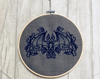 Gothic Bat - Hooped Machine Embroidered Wall Hanging