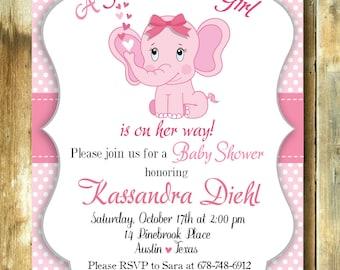 Baby shower invite, invitation kit for babyshower, customizable invitation for babyshower elephant pink theme