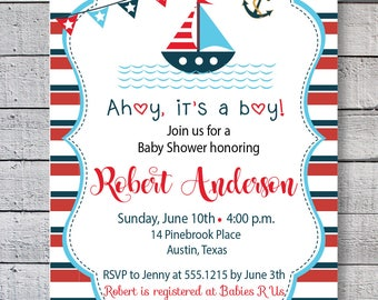 Ahoy, its a boy baby shower invitation, little captain baby shower invite, printable marine baby shower invite