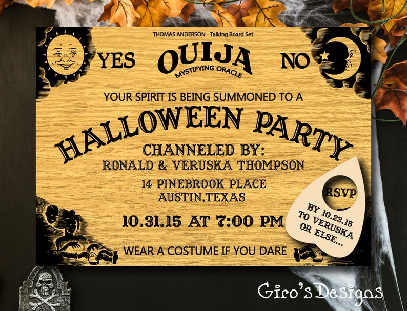 graphic about Ouija Board Printable known as Encouraged Ouija Board Halloween Invitation Printable, Tumble Autumn Invite, Halloween Social gathering Invitation, Gown Occasion, Oct