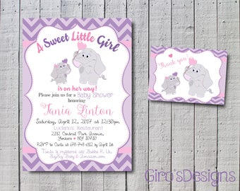 Baby shower invite, invitation kit for babyshower, customizable invitation for Baby Shower Elephant purple and gray theme