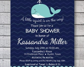 Baby Shower Whale, baby shower marine whale invitation, baby shower invite whale, Blue Whale Invitation, Whale Party Invite, 1st Birthday