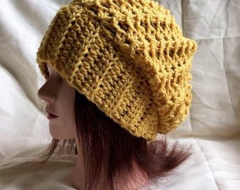 Customizable crochet shell stitch beanie, womens beanie, slouchy hat, slouch beanie, lace beanie, made to order