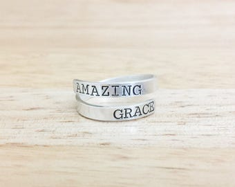 Sterling Silver Wrap Ring - Amazing Grace Ring - Devotional Ring - Sterling Silver Ring - Hand Stamped Ring - Christian Ring -Hymnal Jewelry