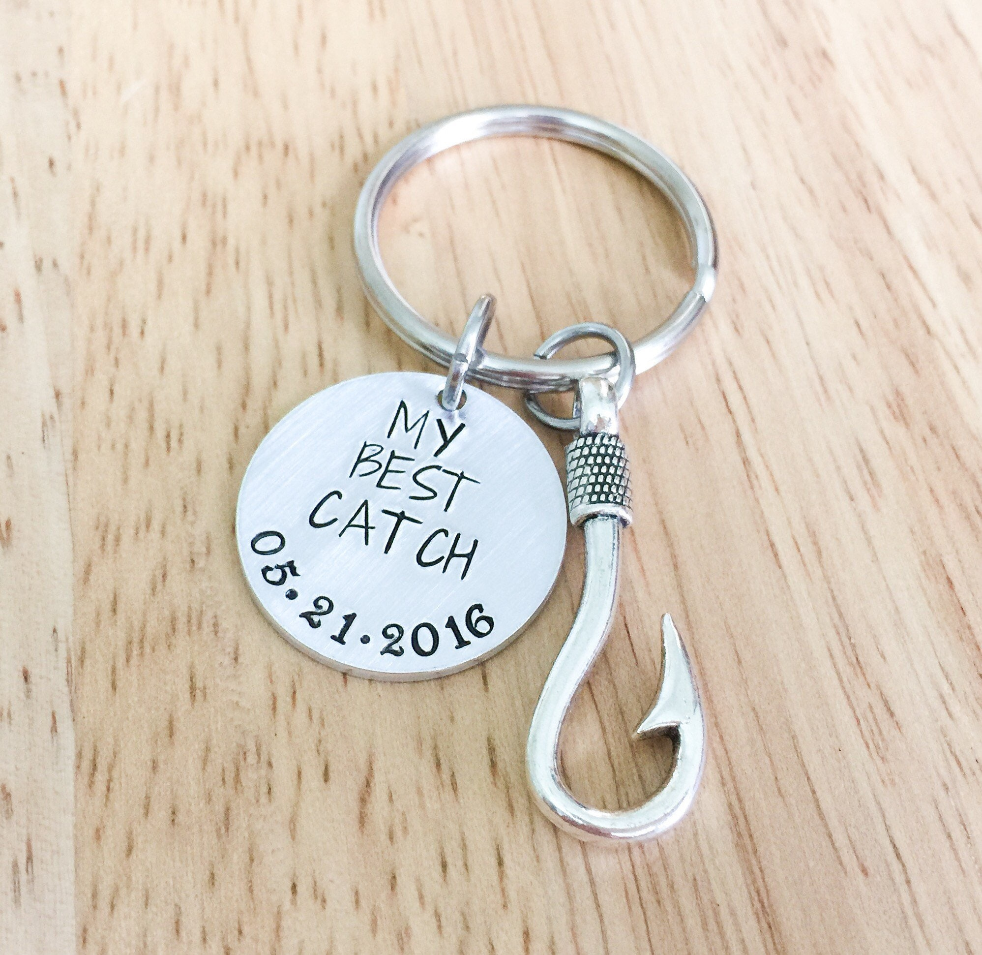 Fishing Hook You Are My Greatest Catch Hand Stamped Keychain Couples Anniversary Present Gift