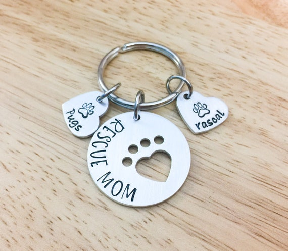Rescue Mom Keychain  Rescue Mom Gift  Personalized Dog Gift