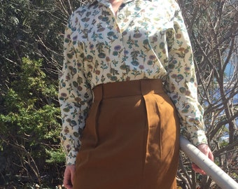 Vintage 50s Floral Button Down Blouse