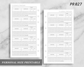 Personal Size Printable TV Series Tracker Log Digital Digital Download PR027