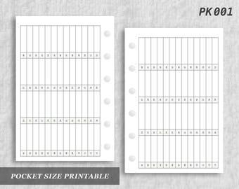 Pocket Size Printable 52 Weeks Horizontal Digital Download PK001