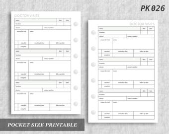 Pocket Size Printable Doctor Visits Appointments Health Medical Printable Appointment Digital Download PK026