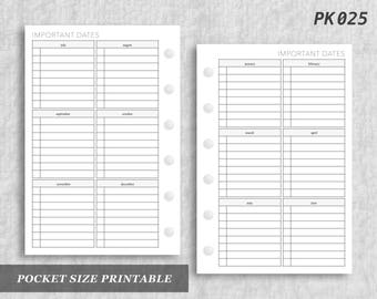 Pocket Size Printable Important Dates Future Dates Pre Plan Planning Upcoming Digital Download PK025
