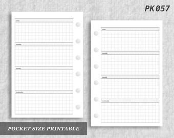 Pocket Size Printable Horizontal Wo2P Grid Weekly Week on Two 2 Page Wo2 Graph Digital Download PK057
