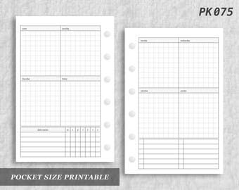 Pocket Size Printable Vertical Wo2P Tracker Tasks Grid Graph Daily Habits Week on Two 2 Page Wo2 Weekly Digital Download PK075