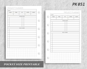 Pocket Size Printable Project Planner Projects Digital Download PK051
