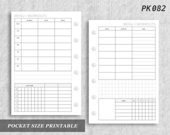Pocket Size Printable Menu & Workouts Tracking Health Meals Fitness Workout Routine Water Digital Download PK082