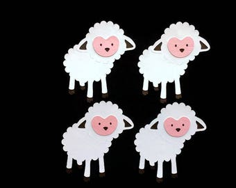 Comical Black Sheep Lambs with Colorful Wool on Pink Grosgrain Ribbon 7//8/""