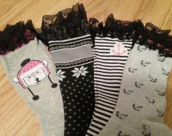 Women's Mid Calf Boot Socks, Women's Boot Socks, Mid Calf Socks, Fun Socks, Unique Socks, Socks with Lace, Lace Socks, Fashion Accesories