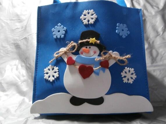 Sac de Noël, bonhomme de neige sac, bleu, vacances, Cabas, sac cadeau, échange de cadeaux, personnaliser