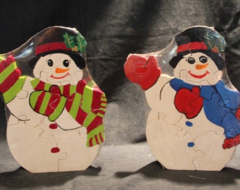 snowman wood puzzle, wooden jigsaw, jigsaw puzzle, Christmas,Holiday  ,