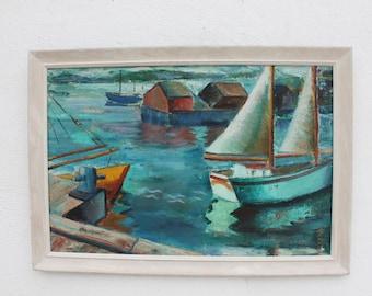 1960's Vintage Rural Harbor Painting By Krselih.